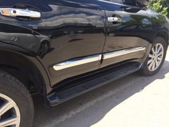 Молдинги на двери Toyota Land Cruiser 200 2007- / 2015- / Lexus LX 570  цвет черный модель рестайлинг LX 2013