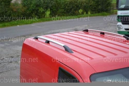 Рейлинги на крышу с пластиковыми креплениями Ford Transit Connect / Tourneo 2004-2014 КОРОТКАЯ БАЗА, под хром (полированный алюминий)
