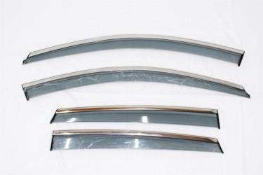 Дефлекторы окон с хром молдингом из нержавеющей стали Honda CR-V 2006-2012