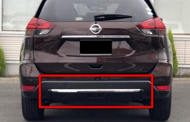 Хром заднего бампера Nissan X-Trail 32 / Rogue 2017-
