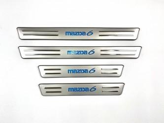 Накладки на пороги Mazda 6 2003-2007 с подсветкой