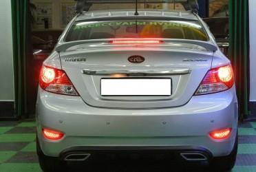 Спойлер на багажник Hyundai Accent 2011-2015 со стоп сигналом ABS крепление на скобы (под покраску)