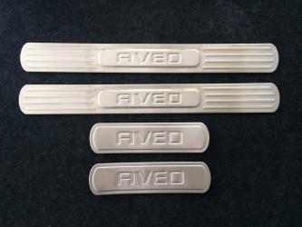 Накладки на пороги Chevrolet Aveo T300 2012- (нержавеющая сталь)