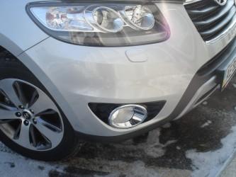 Хром кант на передние противотуманные фары Hyundai Santa Fe 2010-2012 (пластик)