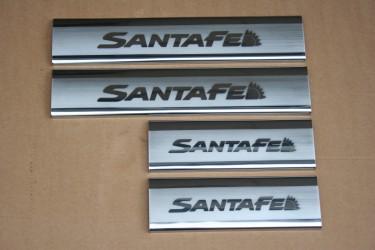 Накладки на пороги Hyundai Santa Fe 2006-2012 широкие (нержавеющая сталь)на пластик