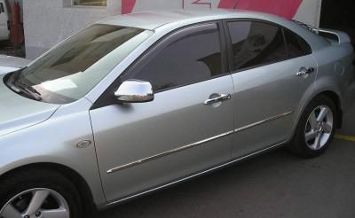 Молдинги дверей Mazda 6 2003-2007 (поверх заводских молдингов, нержавеющая сталь)