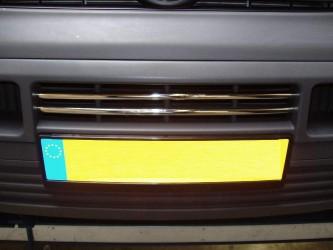 Хром накладки в решетку бампера Volkswagen T5 Transporter 2003-2009 (нержавеющая сталь) 2шт.